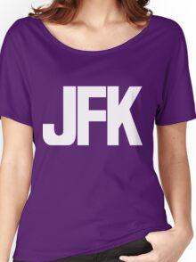 JFK John F Kennedy International Airport White Ink Women's Relaxed Fit T-Shirt