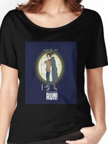 Sherlock Holmes & Dr. Who, When I say run, RUN! Quote, spotlight, phone box, classic Women's Relaxed Fit T-Shirt