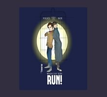 Sherlock Holmes & Dr. Who, When I say run, RUN! Quote, spotlight, phone box, classic Unisex T-Shirt