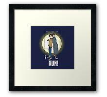 Sherlock Holmes & Dr. Who, When I say run, RUN! Quote, spotlight, phone box, classic Framed Print