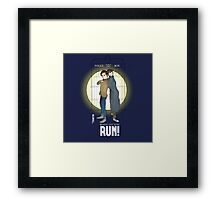 Sherlock Holmes & Dr. Who, When I say run, RUN! Quote, spotlight, phone box, classic Framed Print