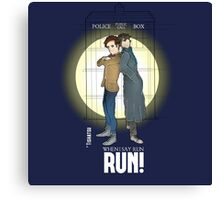 Sherlock Holmes & Dr. Who, When I say run, RUN! Quote, spotlight, phone box, classic Canvas Print