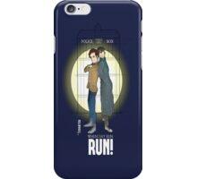Sherlock Holmes & Dr. Who, When I say run, RUN! Quote, spotlight, phone box, classic iPhone Case/Skin