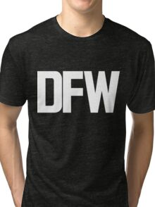DFW Dallas Fort Worth International Airport White Ink Tri-blend T-Shirt