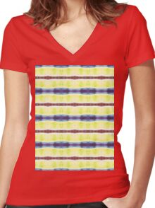 blue, lime, and wavy red stripes Women's Fitted V-Neck T-Shirt