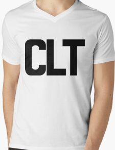 CLT Charlotte Douglas International Airport Black Ink Mens V-Neck T-Shirt