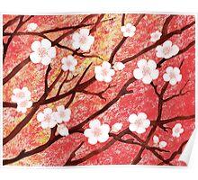 White Blossoms Sunrise Poster