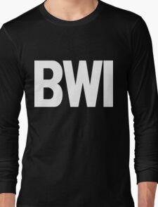 BWI Baltimore Washington International Airport White Ink Long Sleeve T-Shirt