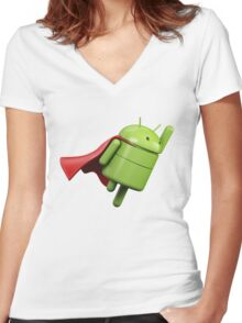 Android super hero Women's Fitted V-Neck T-Shirt
