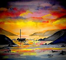 Sunset on the sea in West Cork by Maire Morrissey-Cummins