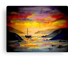 Sunset on the sea in West Cork Canvas Print