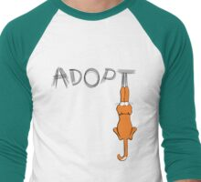 Adopt Cats Dark Claw Marks | Patch & Rusty™ Men's Baseball ¾ T-Shirt