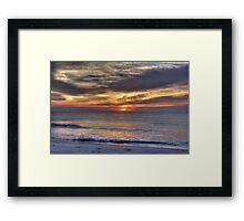 Waves Break at Dawn, Beach Sunrise Framed Print