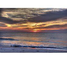 Waves Break at Dawn, Beach Sunrise Photographic Print