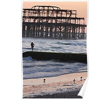 The West Pier and seagulls Poster