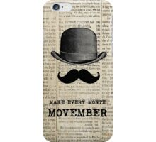 Moustache and Bowler Hat - Movember iPhone Case/Skin