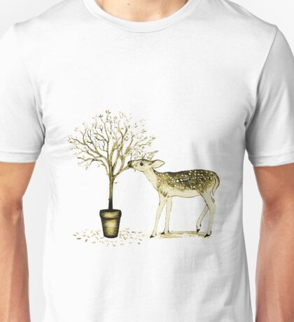 Fawn and Tree (Yellow) Unisex T-Shirt