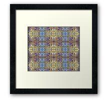 Dusty Brick Wall Treatment Duvet Blue Beige Framed Print