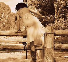 Cowgirl Up, Stock Yards boots and a wet dress. by Barbara  Jean