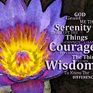 Serenity Prayer With Lotus Flower By Sharon Cummings by Sharon Cummings