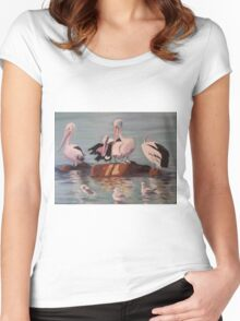 Pelicans and Seagulls at the Beach Women's Fitted Scoop T-Shirt