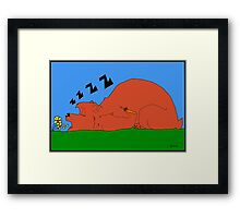 Sleeping Bear And Flowers Framed Print