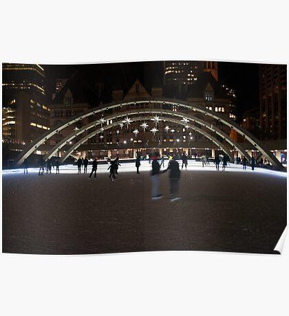 Night Skating At Nathan Phillips Square Poster