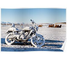 Frozen Motorbike and Camels, Mongolia Poster