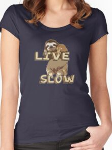 Cute Sloth - LIVE SLOW Women's Fitted Scoop T-Shirt