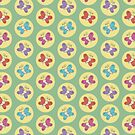Colourful Whimsical Butterflies Pattern (Green) by Lisa Marie Robinson