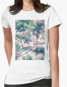 Cherish the Simple Things Pink Plum Blossoms Womens Fitted T-Shirt