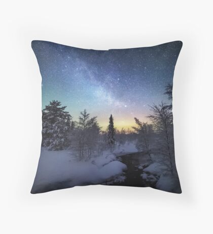 Starry Winter Night Throw Pillow