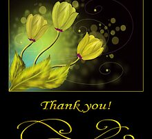 Thank you card with gold flowers. by Nika Lerman