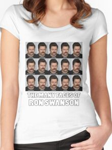 The Many Faces of Ron Swanson Women's Fitted Scoop T-Shirt