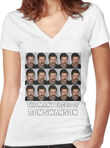 The Many Faces of Ron Swanson Women's Fitted V-Neck T-Shirt