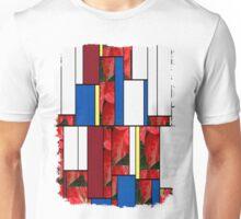 Mottled Red Poinsettia 1 Ephemeral Art Rectangles 4 Unisex T-Shirt