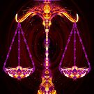 Libra - Zodiac Lightburst - Greeting Card by ifourdezign