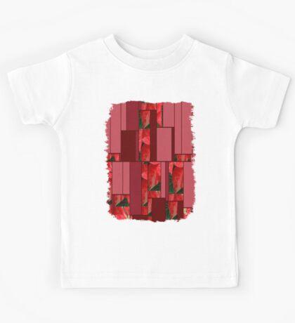Mottled Red Poinsettia 1 Ephemeral Art Rectangles 8 Kids Tee