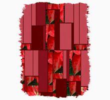 Mottled Red Poinsettia 1 Ephemeral Art Rectangles 8 Unisex T-Shirt