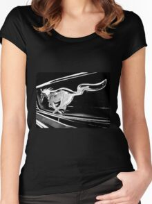 Black and White - '66 Mustang grill (2013) Women's Fitted Scoop T-Shirt