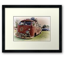 Old Red Split Screen Pickup Framed Print