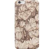 Tulips - sepia line art iPhone Case/Skin