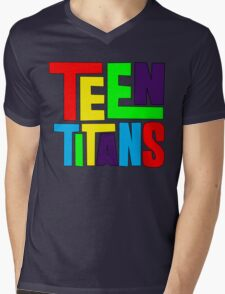 Teen Titans Multicolor Mens V-Neck T-Shirt