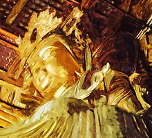 Large Gold Statue Kyoto Japan Abstract Impressionism by pjwuebker