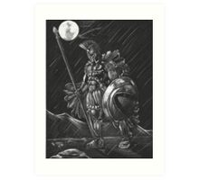 Lost comrades under the moon Art Print