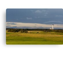 Golfers view of Covesea Lighthouse. Canvas Print