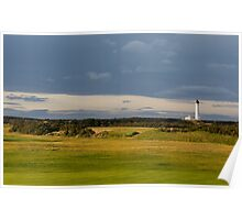 Golfers view of Covesea Lighthouse. Poster