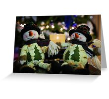 two snowman - christmas decoration Greeting Card