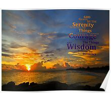 Serenity Prayer Sunset By Sharon Cummings Poster