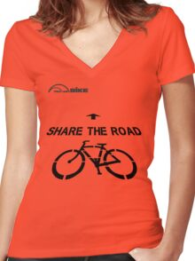 Cycling T Shirt - Share the Road Women's Fitted V-Neck T-Shirt